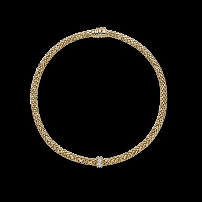 Halskette Fope Flex'it Love Nest aus 750 Gelbgold und 750 Weißgold mit mehreren Brillanten (0,33 Karat)