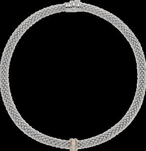 Halskette Fope Flex'it Love Nest aus 750 Weißgold und 750 Roségold mit mehreren Brillanten (0,33 Karat)