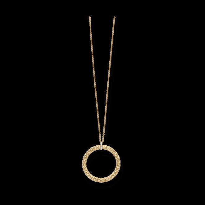 Halskette mit Anhänger Fope Lovely Daisy Gelbgold aus 750 Gelbgold mit mehreren Brillanten (0,04 Karat)