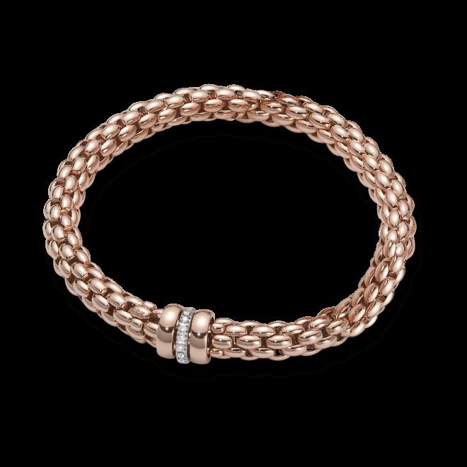 Armband Fope Flex'it Niue aus 750 Roségold mit mehreren Diamanten (0,19 Karat) Größe M