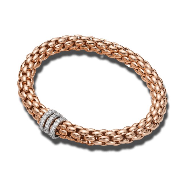 Armband Fope Flex'it Niue aus 750 Roségold und 750 Weißgold mit mehreren Brillanten (0,58 Karat) Größe XS