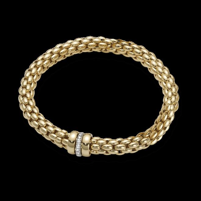 Armband Fope Flex'it Niue Gelbgold aus 750 Gelbgold mit mehreren Diamanten (0,19 Karat) Größe L