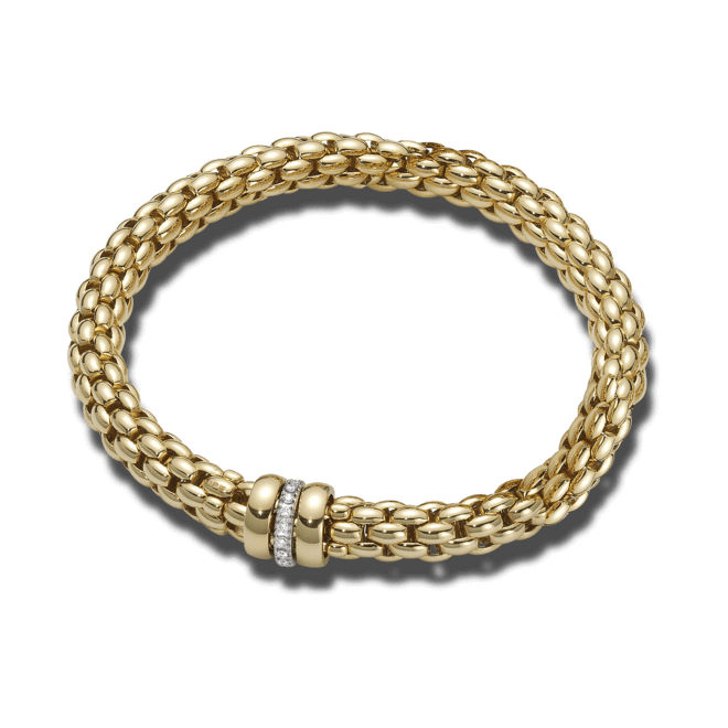 Armband Fope Flex'it Niue Gelbgold aus 750 Gelbgold mit mehreren Brillanten (0,19 Karat) Größe S
