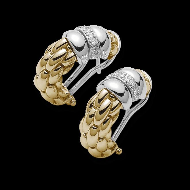 Ohrring Fope Flex'it Niue Gelbgold aus 750 Gelbgold und 750 Weißgold mit mehreren Brillanten (2 x 0,09 Karat)