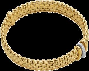 Armband Fope Panorama Flex'it aus 750 Gelbgold und 750 Weißgold mit mehreren Brillanten (0,08 Karat) Größe S