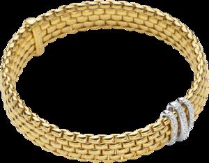 Armband Fope Panorama Flex'it aus 750 Gelbgold und 750 Weißgold mit mehreren Brillanten (0,23 Karat) Größe S