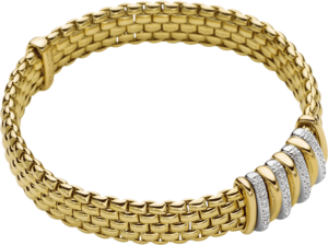 Armband Fope Panorama Flex'it aus 750 Gelbgold und 750 Weißgold mit mehreren Brillanten (0,3 Karat) Größe S