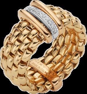 Ring Fope Panorama Flex'it aus 750 Gelbgold und 750 Weißgold mit mehreren Brillanten (0,08 Karat) Größe S (49-53)