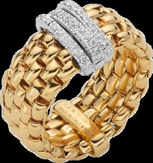 Ring Fope Panorama Flex'it aus 750 Gelbgold und 750 Weißgold mit mehreren Brillanten (0,23 Karat) Größe S (49-53)