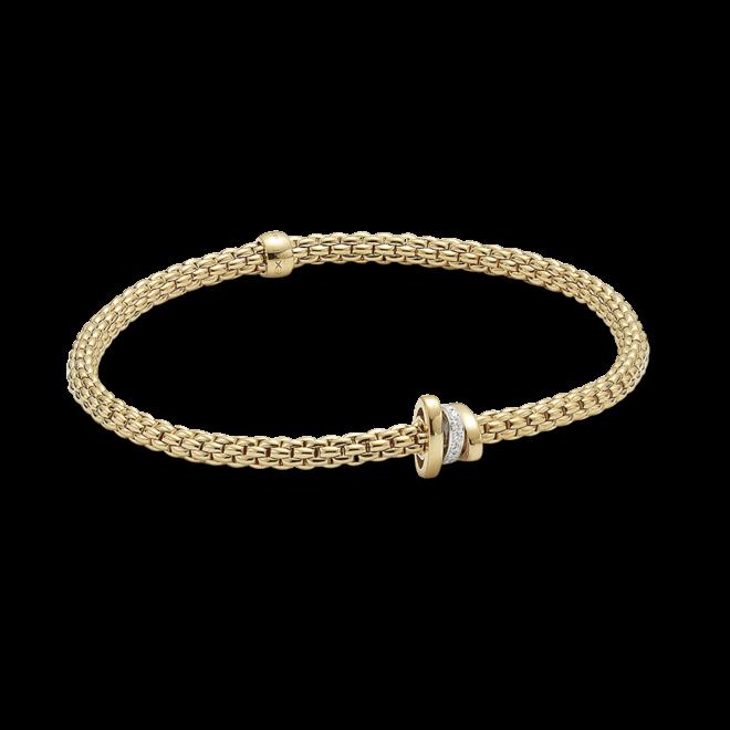 Armband Fope Flex'it Prima aus 750 Gelbgold und 750 Weißgold mit mehreren Brillanten (0,1 Karat) Größe XS