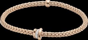 Armband Fope Flex'it Prima aus 750 Roségold und 750 Weißgold mit mehreren Brillanten (0,1 Karat) Größe XS