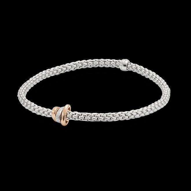Armband Fope Flex'it Prima aus 750 Weißgold und 750 Roségold mit mehreren Brillanten (0,1 Karat) Größe XS