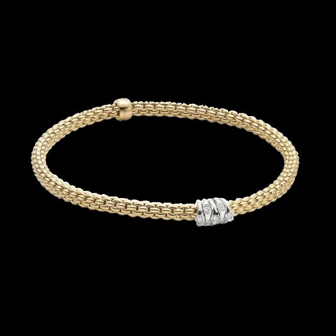 Armband Fope Flex'it Prima aus 750 Gelbgold und 750 Weißgold mit mehreren Brillanten (0,07 Karat) Größe XS bei Brogle