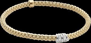 Armband Fope Flex'it Prima aus 750 Gelbgold und 750 Weißgold mit mehreren Brillanten (0,07 Karat) Größe XS