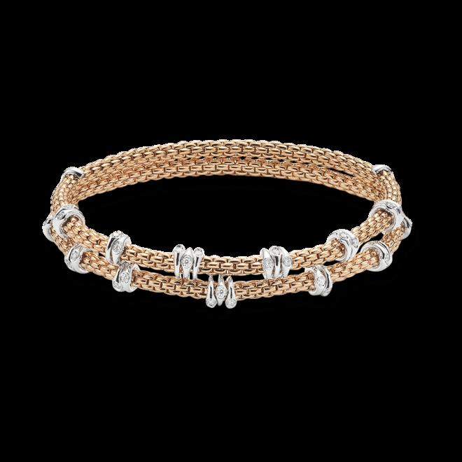 Armband Fope Flex'it Prima aus 750 Roségold und 750 Weißgold mit mehreren Brillanten (0,37 Karat) Größe XS