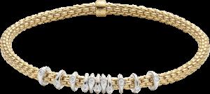 Armband Fope Flex'it Prima aus 750 Gelbgold und 750 Weißgold mit mehreren Brillanten (0,15 Karat) Größe XS