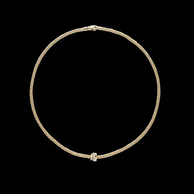 Halskette Fope Flex'it Prima aus 750 Gelbgold mit mehreren Brillanten (0,1 Karat)