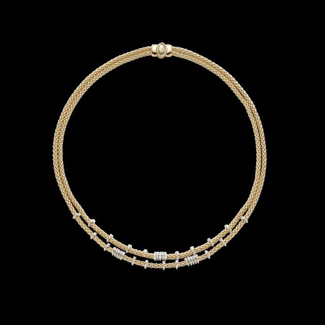 Halskette Fope Flex'it Prima aus 750 Gelbgold mit mehreren Brillanten (0,45 Karat)