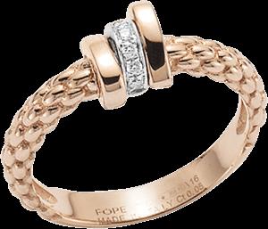 Ring Fope Flex'it Prima aus 750 Roségold und 750 Weißgold mit mehreren Brillanten (0,05 Karat)