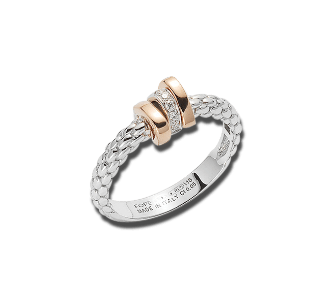 Ring Fope Flex'it Prima aus 750 Weißgold und 750 Roségold mit mehreren Brillanten (0,05 Karat) bei Brogle