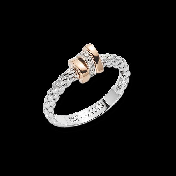 Ring Fope Flex'it Prima aus 750 Weißgold und 750 Roségold mit mehreren Brillanten (0,05 Karat)