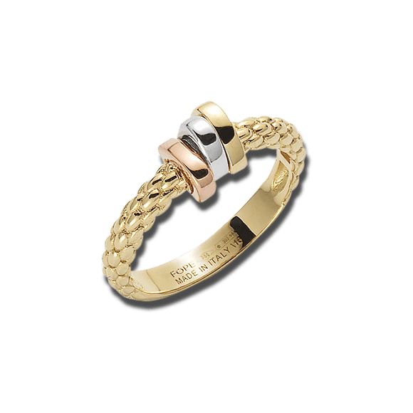 Ring Fope Flex'it Prima aus 750 Gelbgold, 750 Weißgold und 750 Roségold