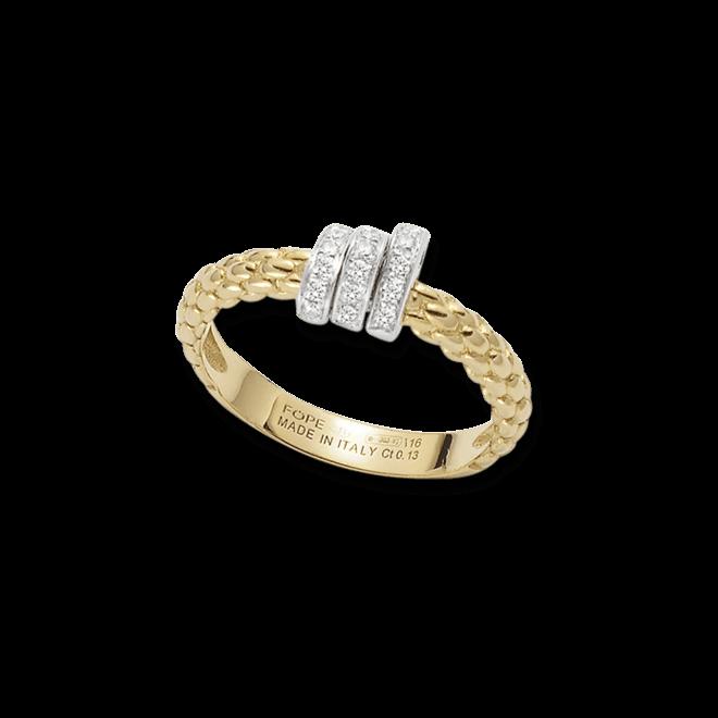 Ring Fope Flex'it Prima aus 750 Gelbgold und 750 Weißgold mit mehreren Brillanten (0,13 Karat) bei Brogle