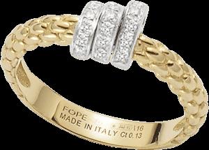 Ring Fope Flex'it Prima aus 750 Gelbgold und 750 Weißgold mit mehreren Brillanten (0,13 Karat)