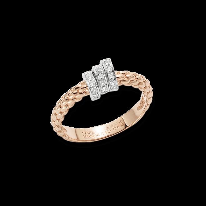 Ring Fope Flex'it Prima aus 750 Roségold und 750 Weißgold mit mehreren Brillanten (0,13 Karat)