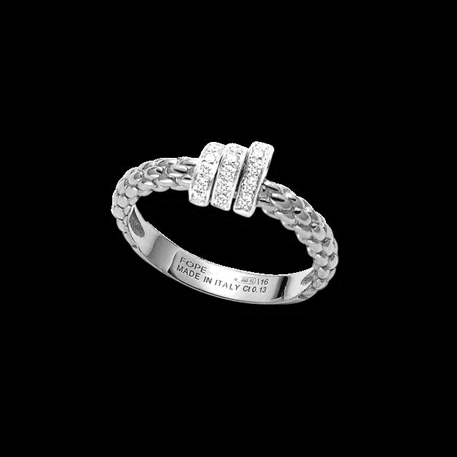 Ring Fope Flex'it Prima aus 750 Weißgold mit mehreren Brillanten (0,13 Karat)
