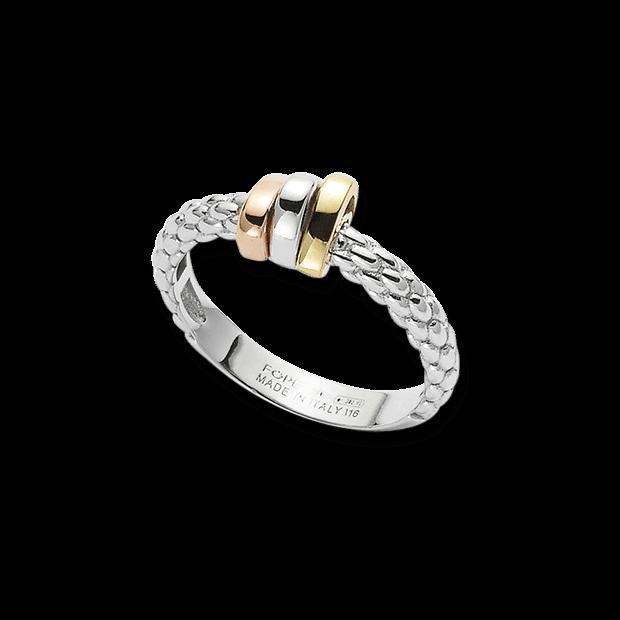 Ring Fope Flex'it Prima aus 750 Weißgold, 750 Gelbgold und 750 Roségold