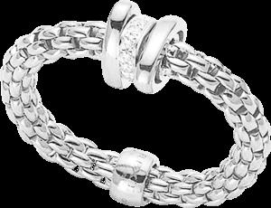 Ring Fope Flex'it Prima aus 750 Weißgold mit mehreren Brillanten (0,1 Karat)