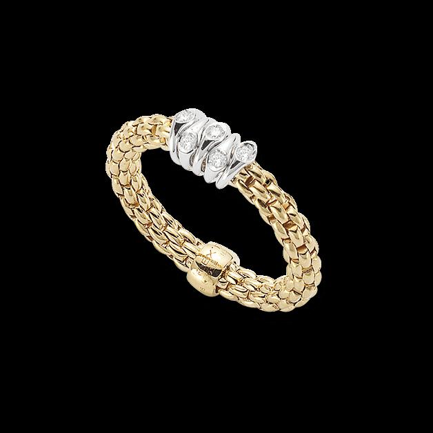 Ring Fope Flex'it Prima aus 750 Gelbgold und 750 Weißgold mit mehreren Brillanten (0,07 Karat) Größe S (49-53)