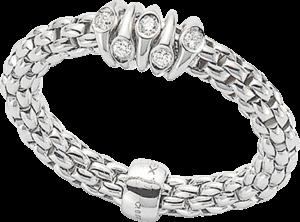 Ring Fope Flex'it Prima aus 750 Weißgold mit mehreren Brillanten (0,07 Karat) Größe S (49-53)