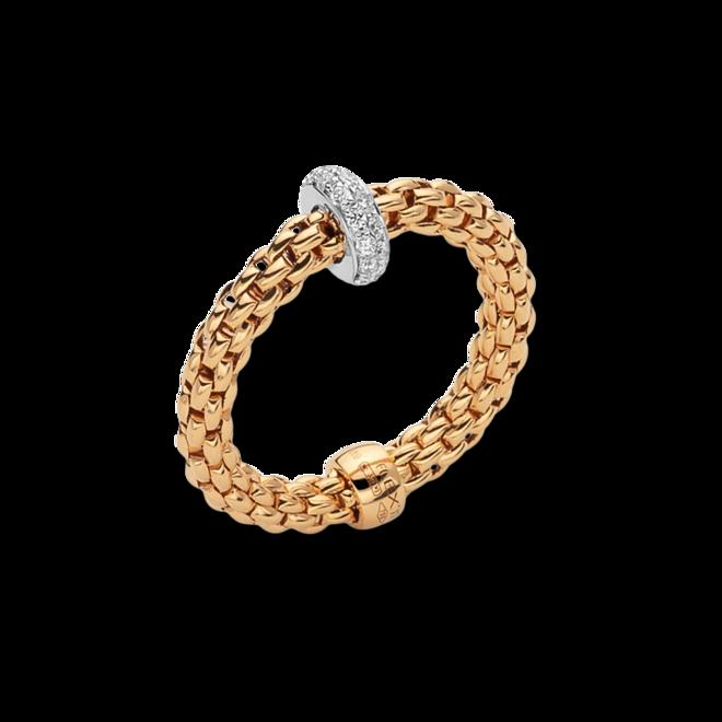 Ring Fope Prima Flex´it aus 750 Gelbgold und 750 Weißgold mit mehreren Brillanten (0,18 Karat) Größe S (49-53)