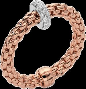Ring Fope Prima Flex´it aus 750 Roségold und 750 Weißgold mit mehreren Brillanten (0,18 Karat) Größe S (49-53)
