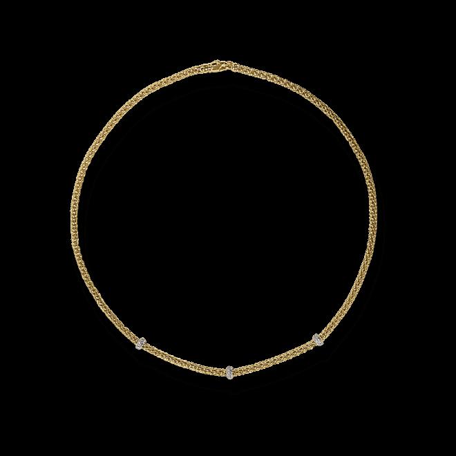 Halskette Fope Loop Gelbgold aus 750 Gelbgold mit mehreren Brillanten (0,28 Karat)