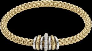 Armband Fope Flex'it Solo aus 750 Gelbgold und Weißgold mit mehreren Brillanten (0,41 Karat) Größe L