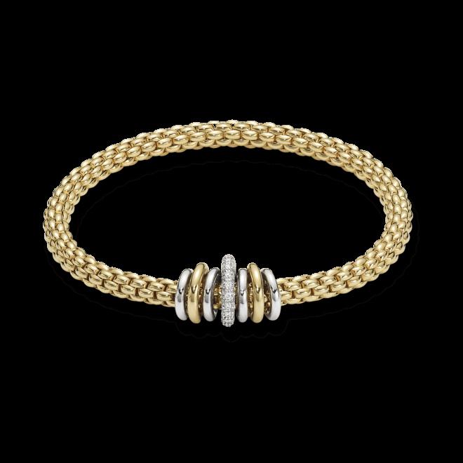 Armband Fope Flex'it Solo aus 750 Gelbgold und Weißgold mit mehreren Brillanten (0,41 Karat) Größe S