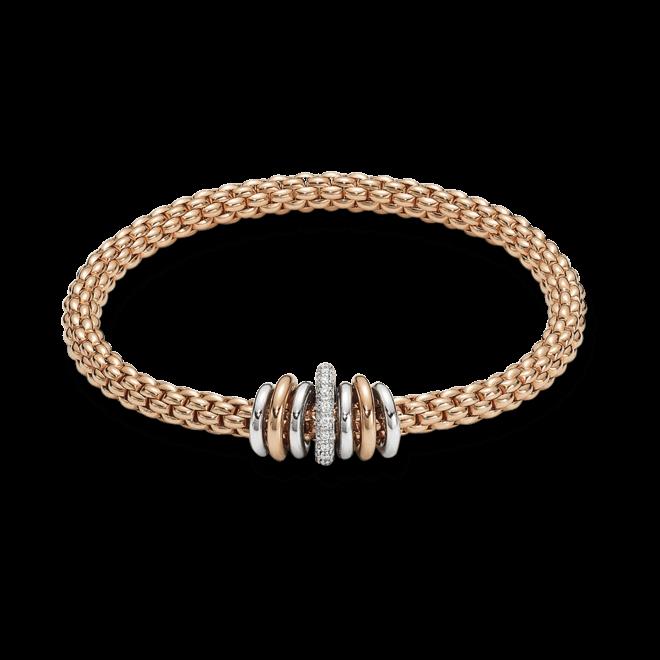 Armband Fope Flex'it Solo aus 750 Roségold und Weißgold mit mehreren Brillanten (0,41 Karat) Größe XS