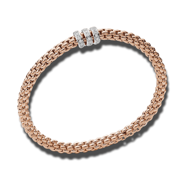 Armband Fope Flex'it Solo aus 750 Roségold mit mehreren Diamanten (0,3 Karat) Größe L