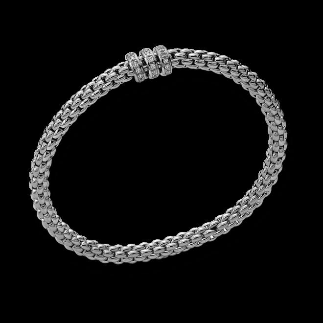 Armband Fope Flex'it Solo aus 750 Weißgold mit mehreren Diamanten (0,3 Karat) Größe L