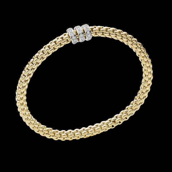 Armband Fope Flex'it Solo aus 750 Gelbgold mit mehreren Diamanten (0,3 Karat) Größe M