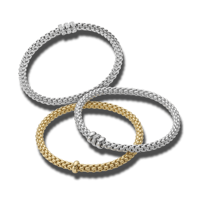 Armband Fope Flex'it Solo aus 750 Weißgold mit mehreren Diamanten (0,3 Karat) Größe M