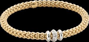 Armband Fope Flex'it Solo aus 750 Gelbgold und 750 Weißgold mit mehreren Brillanten (0,17 Karat) Größe M
