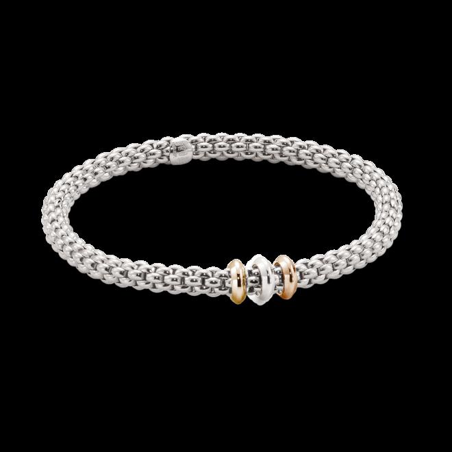 Armband Fope Flex'it Solo aus 750 Weißgold, 750 Roségold und 750 Gelbgold Größe L