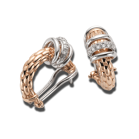 Creole Fope Flex'it Solo aus 750 Roségold und 750 Weißgold mit mehreren Diamanten (2 x 0,11 Karat)