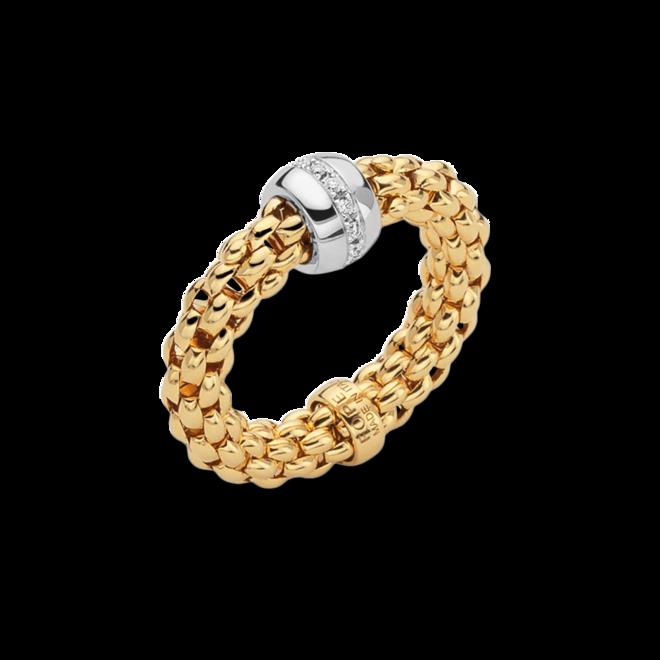 Ring Fope Solo Flex'it aus 750 Gelbgold und 750 Weißgold mit mehreren Brillanten (0,1 Karat) Größe S (49-53)