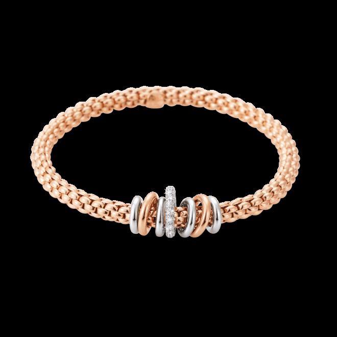 Armband Fope Flex'it Solo aus 750 Roségold und 750 Weißgold mit mehreren Brillanten (0,41 Karat) Größe L