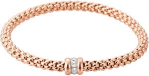 Armband Fope Flex'it Solo aus 750 Roségold und 750 Weißgold mit mehreren Diamanten (0,1 Karat) Größe L